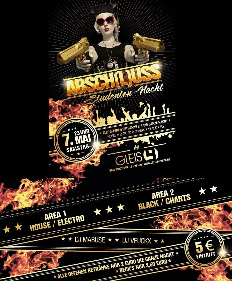 Flyer Absch(l)uss Party komplett schwarz